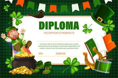 Kids diploma, children education certificate with Irish leprechaun vector template. Saint Patrick Day school, kindergarten diploma shedule with happy leprechaun sliding on rainbow to pot of gold coins