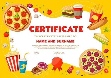 Kids diploma with snacks and drinks. Certificate vector template with pizza, soda drink and hot dog, donuts, sandwich and pop corn on yellow background with place for name and surmane, child diploma