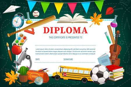Kids diploma for kindergarten or school, schedule template. Education certificate with sport inventory, music and scientific instruments, books and copybook, pencil case and school bus