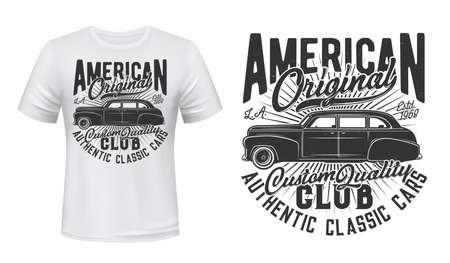 American old car t-shirt print. Emblem with vintage, black sedan, retro limousine and typography. American, classic car owners club, vehicles restoration service apparel print template Ilustração