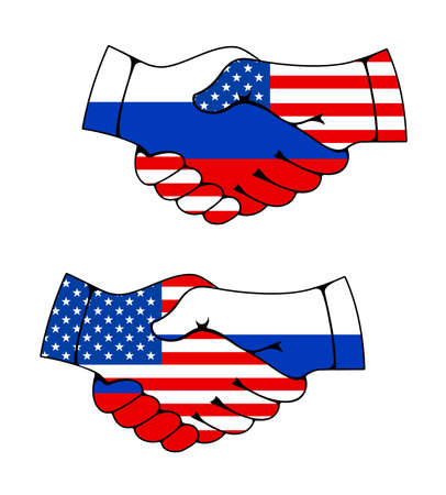 Russia and Usa partnership, trade and business handshake, deal agreement joined male hands with russian and american flags. Businessman or politics greeting and friendship, partnership, meeting
