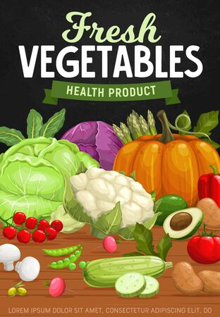 Farm vegetables, healthy and natural food products. Vector cabbage, asparagus, pumpkin and bell pepper, cherry tomato, zucchini ans radish, mushroom and potato, cauliflower and avocado, olives and pea