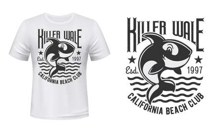 Killer whale t-shirt print mockup. Cute orca character jumping out of water, killer whale funny happy smiling mascot and typography. Beach club emblem, apparel custom design print