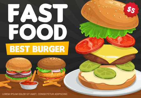 Burgers, hamburger and cheeseburger design of fast food sandwiches with ingredients. Beef meat, cheese and tomato, burger bread bun, lettuce salad, onion and pickled cucumbers, restaurant menu