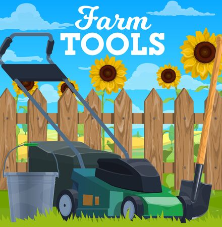 Farming tools vector lawn mower, bucket and shovel on green grass front of wooden fence with sunflowers. Gardening and farming tools. Agriculture, farmland horticulture cartoon poster