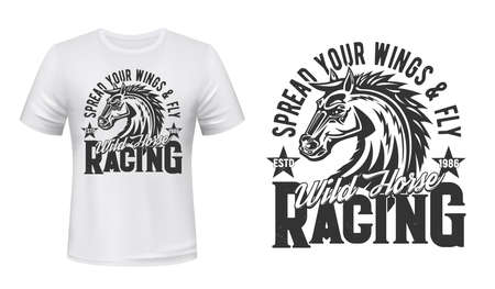 Stallion horse riding and racing t-shirt mockup template. Wild horse or mustang, racehorse head with developing mane illustration and typography. Equestrian show, sport racing print design Ilustrace