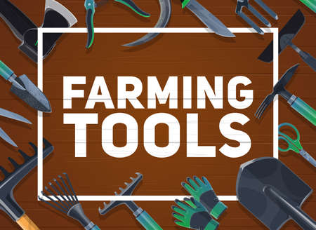 Gardening and farming hand tools, agriculture. shovel and ax, averruncator and scissors, gloves, and hoe, sickle and knife, chopper and thatch, shrub rakes on wooden background Stock fotó - 150597147