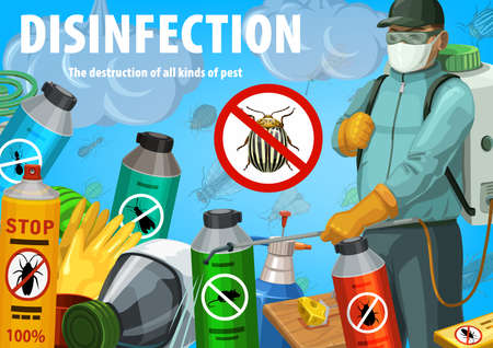 Disinfection poster. Insect control worker spraying insecticide with pressure sprayer against insects. Pest control exterminator in protective suit, aerosol. Colorado beetle prohibition sign