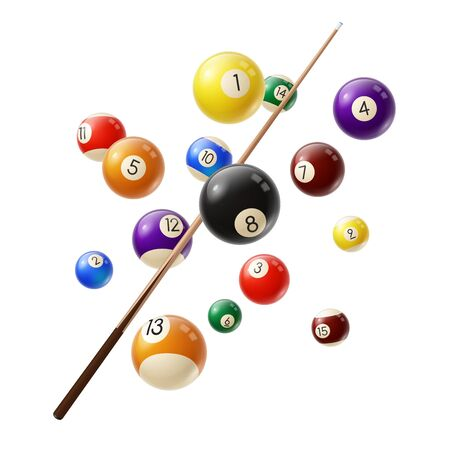Billiard balls and cue 3d realistic vector. Various color billiard balls with digits flying in air, wooden cue isolated on white background. Snooker or pool club, sport competition equipment Ilustração