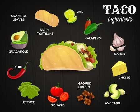 Tacos ingredients, mexican fast food cafe menu. Corn tortilla and lime, jalapeno and chili pepper, garlic and cheese, avocado and tomato, ground beef, lettuce and guacamole sauce. Cartoon vector Ilustração