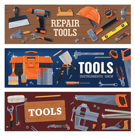 Tools for construction , repair and DIY works. Vector power and hand tools for home renovation, measuring instruments and equipment for wall painting. Construction, woodworking tools shop
