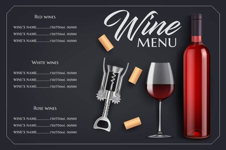 Wine menu list vector template. Bottle and glass, corks and corkscrew on black background with vignette. Red, rose and white grape alcohol drinks. Winery, restaurant or bar menu wine menu list