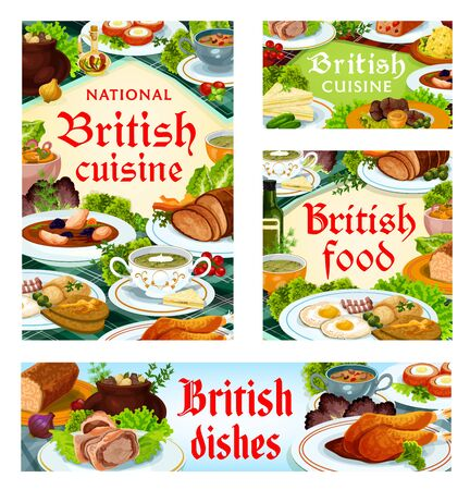 Britain cuisine, English food vector kok-e-liki scotch soup, scotch smoked trout plate and kidney soup, beef wellington meals. Candied fruit pie, cucumber sandwich and eggs, British dishes posters set Ilustração