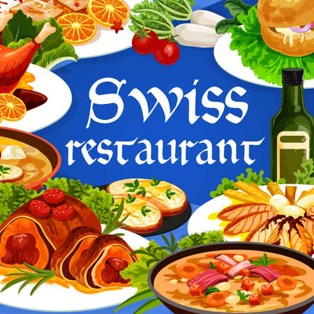 Swiss food cuisine vector chicken in dough, duck with orange, gingerbread leckerli or beef Wellington. Swiss pearl barley and cheese soup restaurant dishes with meat and pastry desserts cartoon poster Illusztráció