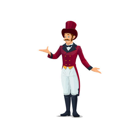 Big top tent circus entertainer, performer character in top hat and vintage tailcoat costume. Cartoon vector man circus fanfair carnival entertainer or announcer, showman in retro suit. Isolated