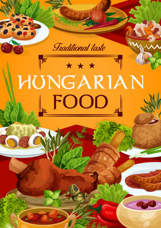 Hungary cuisine vector Hungarian food sausages with spicy sauce and onion, salad with egg, braised cabbage with pepper, cold cherry soup, sweet cookies with dried fruits, soup in bread dishes poster