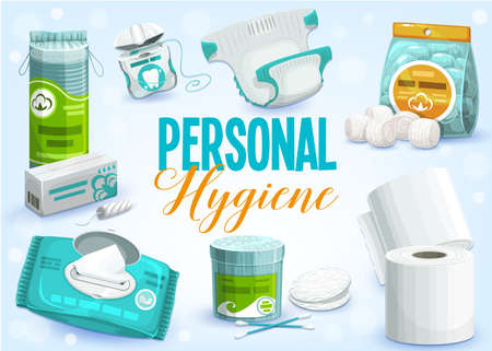 Personal hygiene products vector design of toilet paper rolls, cleansing towel or wet wipes, cotton wool balls, pads and swabs, dental floss, tampons and diaper. Bathroom accessories, sanitary items Vektorgrafik