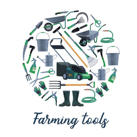 Farming and gardening tools vector set. Lawnmover and wheelbarrow, bucket and watering can, hoe and leaf rake, averruncator and trimming scissors, rubber boots and gloves. Gardening tools round banner