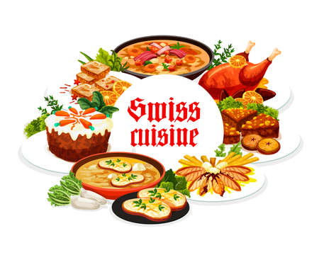 Swiss food cuisine vector gingerbread leckerli, duck with orange, bread and carrot cake. Swiss pearl barley and cheese soup, perch fillet restaurant menu dishes meat and desserts round frame, poster
