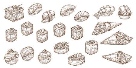 Sushi, sashimi and rolls vector sketch. Nigiri, maki japanese engraved seafood. Uramaki and inari, gunkan or temaki sushi with salmon fish, rice and shrimp. Seaweed nori, tuna, caviar and avocado set Vector Illustration