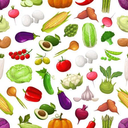 Farm vegetables and greenery seamless pattern. Vector avocado, asparagus, chili and bell pepper, eggplant, cucumber, onion, garlic and cabbage, radish. Fresh ripe veggies harvest on white background Vetores