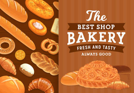 Bakery, pastry and bread vector poster. Bakery shop products. Wheat bread loaf, flatbread and baguette, sweet bagel with sesame, bun with icing, pretzel and croissant, challah with poppy seeds