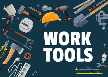 Construction, repair and DIY work tools vector. Paint sprayer and sledgehammer, helmet, power screwdriver and tile cutter, energy meter, hacksaw and shovel. Repair and renovation works tools banner