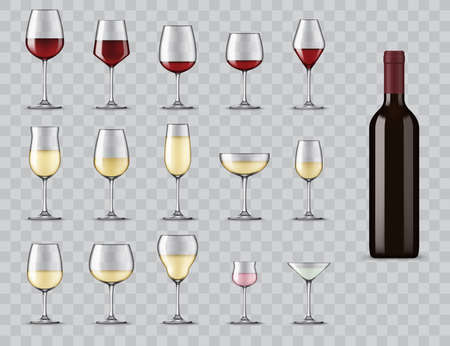 Types of wine glasses. Realistic bottle and glassware for white, red, rose wine, champagne and martini cocktail. Full, light and medium bodied glasses for alcohol drinks isolated 3d vector icons set Vector Illustratie