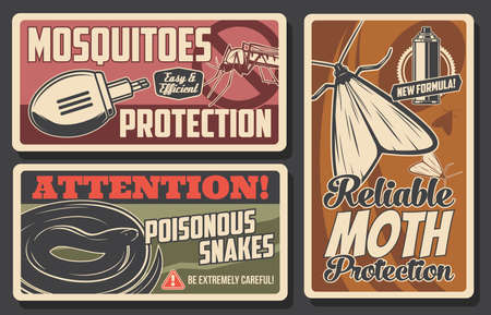 Mosquito and moth protection, snakes danger vector signs. Disinsection repellents for insects and poisonous serpents health protection. Mosquito, moth fumigation tool electric repellent, retro posters Illusztráció