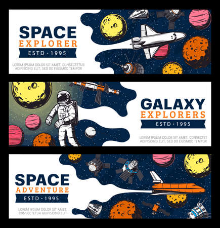 Galaxy explore, astronauts and space shuttles vector banners. Galaxy expedition, exploration and adventure, satellites in outer space. Universe explorers and planets colonization mission Illusztráció