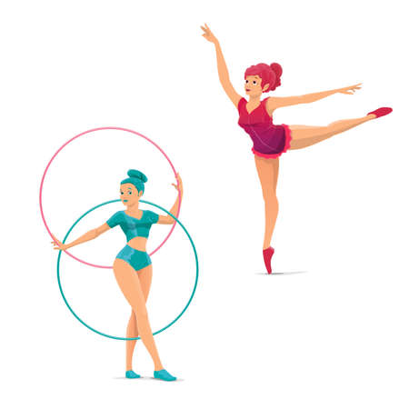 Big top circus gymnasts and balancers vector characters. Cartoon woman acrobats showing a performance. Girls acrobats in costumes performing a stunt, dancing on circus stage with hoops