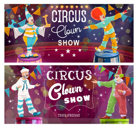Clowns comedy show on Big Top Circus arena. Clown in sailor suit, harlequin costume, circus performer character with false nose and wig standing on pedestal, entertains audience cartoon vector banner