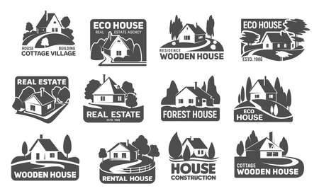 Wooden eco houses, real estate buildings vector icons. Cottage silhouettes with trees and lawn, garden, path or driveway and fence. Emblem or eco design for landscaping service and real estate company
