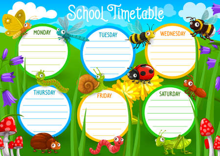 School timetable with insects on meadow vector. Weekly schedule, timetable with butterfly and dragonfly, bee and bumblebee, ant, bug and caterpillar, earthworm, snail and ladybug cartoon character Illustration