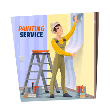 House renovation and repair service worker. Man in overalls and paper hat gluing and aligning a wallpapers with smoother or spatula, painting apartment wall with brush. Painting service worker