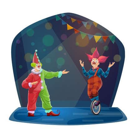 Circus cartoon clown characters. Funny vector Big top carnival funster and jester on monocycle in bright costumes, periwig, makeup and fake nose perform show on circus stage with flags and spotlight