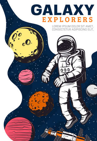 Astronaut in outer space, galaxy exploration. Vector. Cosmonaut universe explorer in spacesuit fly in weightlessness. Planets moon, jupiter and mars, stars and satellite Illusztráció