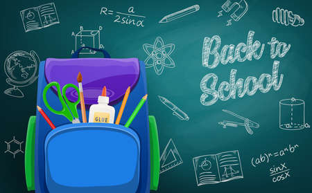 Schoolbag, back to school education chalk sketch on blackboard. Stationery and lesson drawings. School bag with pencils, glue and scissors, algebra equation, ruler and compass, copybook, globe vector