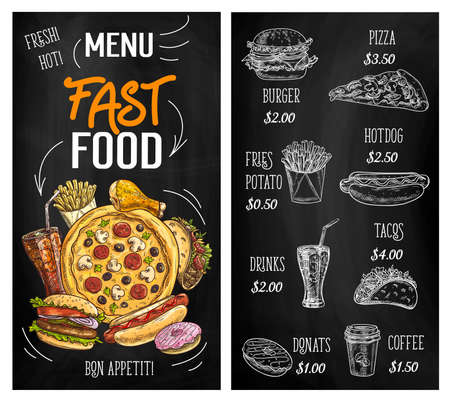 Fast food sketch chalkboard menu burgers, pizza and hamburgers, vector restaurant cafe sandwiches. Fastfood menu for cheeseburger, potato fries and Mexican tacos, coffee, soda drinks and donuts Ilustración de vector