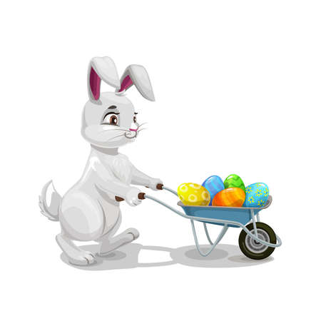 Bunny or rabbit carrying Easter egg hunt wheelbarrow, religion holiday egghunting party. Vector hare animal with cart full of colorful painted eggs, kids competitive game of Easter holiday celebration