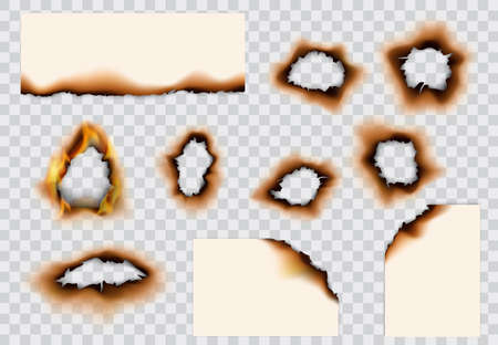 Burnt paper hole, page edges and corners. 3d vector with realistic fire flames, ashes and brown burns. Destroyed paper or parchment with cracked and dirty borders on transparent background 向量圖像