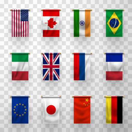 Flags of countries, 3d vector banners. National flags of Germany, France, Italy and Brazil, Japan, China, Canada and Russia, United States of America, European Union, United Kingdom and India