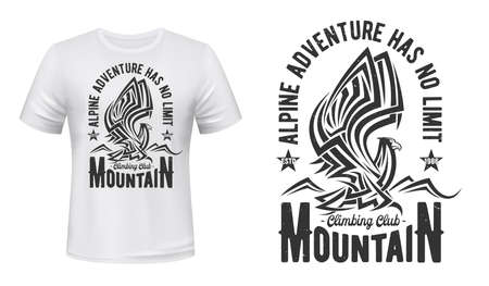 Mountain eagle t-shirt print of hiking or climbing sport club, outdoor adventure and travel vector design. Custom apparel grunge badge of hawk-eagle, bird of prey with raised wings and tribal ornament Ilustração