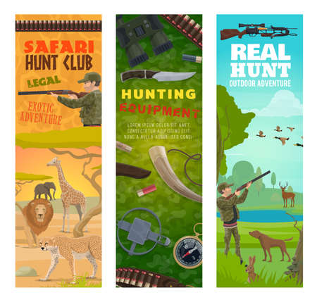 Hunting sport banners with vector hunters, animals, hunt equipment and ammunition. Hunter with gun and rifle, ducks and deer, african safari lion, elephant and jaguar, dog, compass and binoculars