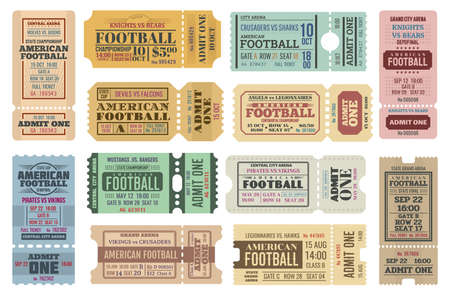 American football game tickets vector set with sport ball. Championship cup match admit one coupons, competition event of stadium or sporting arena retro invitations or access cards 일러스트