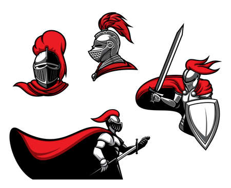 Medieval knights with swords, vector heraldic icons. Roman warrior or guard with blade in armor with red cape. Heraldry symbols of royal knight in helmet with red plumage