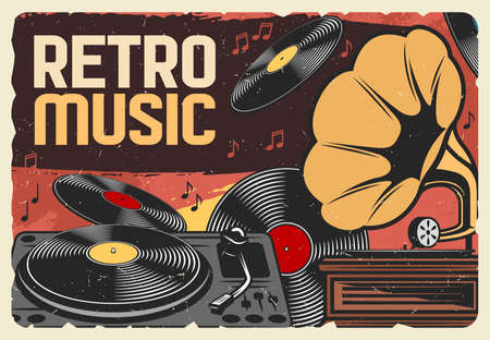 Vinyl records retro music and vintage gramophone grunge poster. Vector record player and phonograph with musical notes and disks, disco party or dance club design