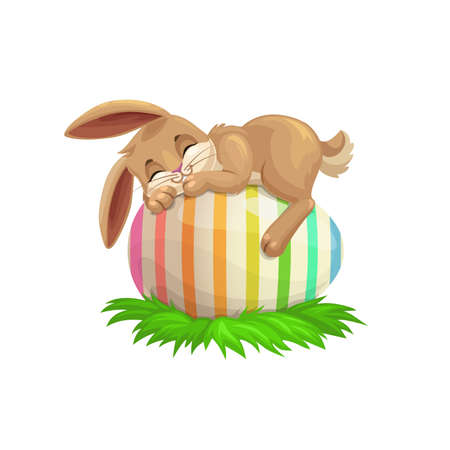 Easter cartoon bunny sleeping on striped holiday egg. Egghunting party vector design with cute rabbit or bunny animal resting on painted egg, decorated with pattern of colorful stripes