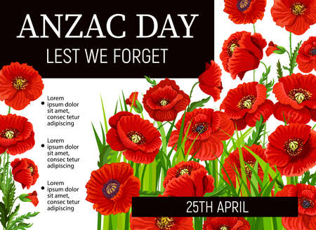 Poppies of Anzac Day, vector poster design. Red flowers of Australian and New Zealand army soldiers, war veterans commemorate anniversary. Anzac Day Lest We Forget memorial poppies, black ribbons