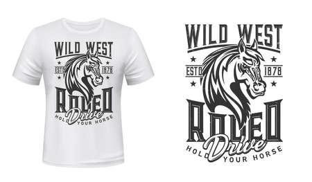 Horse t-shirt print of Wild West, rodeo sport and western riding show. Vector badge of mustang stallion animal head with mane, angry muzzle and grunge lettering. Equestrian sport